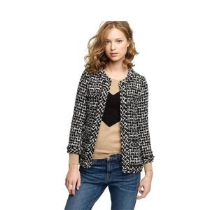 J Crew Cherie Black White and Silver Jacket 10